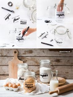 DIY: Label storage jars with printable labels for printing – nicest things – diy kitchen decor ideas Kitchen Organisation, Diy Kitchen Storage, Diy Kitchen Decor, Jar Storage, Printable Labels, Printables, Gold Spray Paint, Antioxidant Vitamins, Upcycled Home Decor