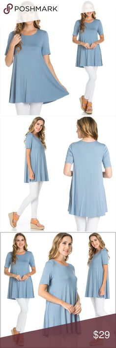 "Baby Blue Buttery Soft Tunic Size SMALL •Buttery Soft, flowy fabric.  •95% Rayon / 5% Spandex  Measurements:  S-   Bust: 34"" Length: 30""  ❗️Price is firm unless bundled❗️ #998854 Tops Tunics"