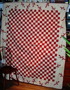 Antique Coverlet Quilt Applique Red White Check Checkered Squares Branches Ties | eBay