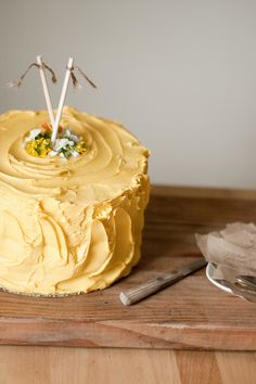 yellow birthday cake #Recipes #Delectables.