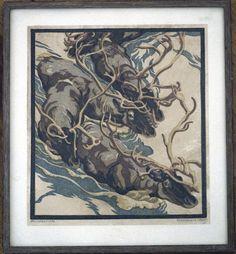 Linocut of Reindeer Herd or Rentierherde by Norbertine von Bresslern-Roth