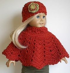American Girl Doll Clothes: Crocheted Wool Poncho and Flowered Hat Set in Burnt Orange or Currant for 18 Inch Dolls