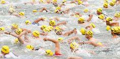 Athletes compete during the swimming leg of the Ironman Zurich Switzerland Triathlon in the waters of Lake Zurich on July 28. (Arnd Wiegmann...