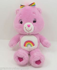 """Care Bears Cheer Bear 14"""" Plush Doll 2008 Rainbow Tummy and Hair Bow Pink Hearts Check it out on eBay"""