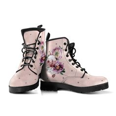 Custom Shoes, Custom Design Shoes, Leather Lace Up Boots, Vegan Leather, Blush Pink, Pink Boots, White Boots, Beautiful Flowers, Snug Fit