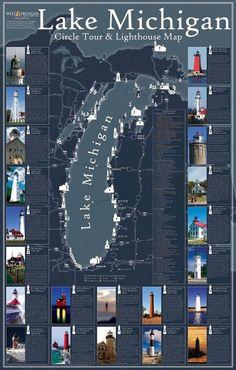 Around Lake Michigan Lighthouse Map Michigan Vacations, Michigan Travel, State Of Michigan, University Of Michigan, Detroit Michigan, Northern Michigan, Lake Michigan Vacation, Vacation Destinations, Vacation Spots