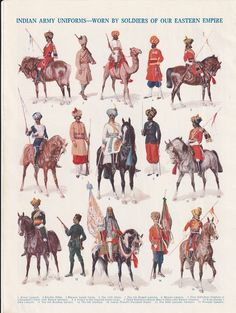 Indian Army Uniforms Soldiers Eastern Empire Alwar Sikhs Lancers Cavalry Mysore original print 1930 vintage print art home decor wall art Vintage Military Uniforms, Military Art, Military History, Military Fashion, Bengal Lancer, Army Pics, Indiana, Colonial India, British Army Uniform
