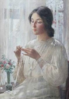 At the Window - a portrait of the artists wife Nellie, watercolor, William Kay Blacklock British Painter Woman Painting, Figure Painting, Painting & Drawing, Rose Shabby Chic, Mode Poster, Art Du Fil, Knit Art, Sewing Art, Watercolor Portraits