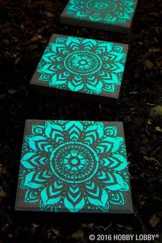 Stepping stones painted with glow in the dark paint. Perfect around the pool