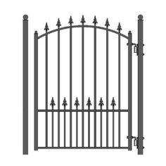 x 5 ft. Black Steel Pedestrian Fence Gate Source by Metal Fence Gates, Wrought Iron Fences, Garden Fence Panels, Garden Gates, Wrought Iron Gate Designs, Metal Gate Designs, Aluminium Gates, Outdoor Screens, Steel Gate
