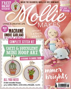Mollie Makes issue 68 with free cacti mini hoop art kit