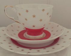 Stunning Vintage Red and Gold Star Design English Bone China Tea Set Trio