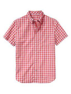 Lived-in wash gingham shirt; 100% Cotton