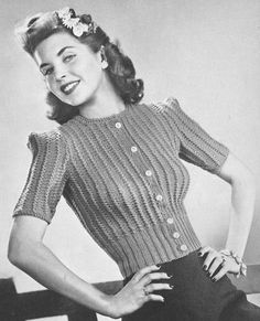 Vintage 1940s Sweater Jumper Pattern Cardigan Best Girl