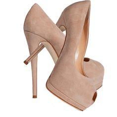 Nude shoes Giuseppe Zanotti sand suede peep toe nude pumps ❤ liked on Polyvore