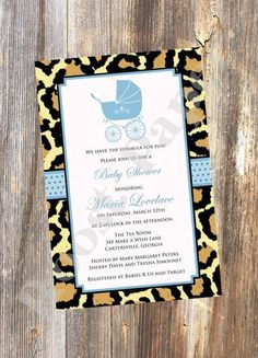 Fabulous Cheetah Baby Shower Invitation / by RoostPaperie on Etsy, $13.00