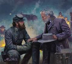 Lee and Jackson talk in the predawn at Chancellorsville about splitting the army and sending Jackson troops to flank the Union right. American Civil War - Visit to grab an amazing super hero shirt now on sale! Military Art, Military History, American Civil War, American History, Civil War Art, Southern Heritage, Southern Pride, Civil War Photos, Historical Art