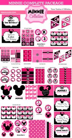MINNIE MOUSE Party Printables Pink Minnie Mouse by KROWNKREATIONS