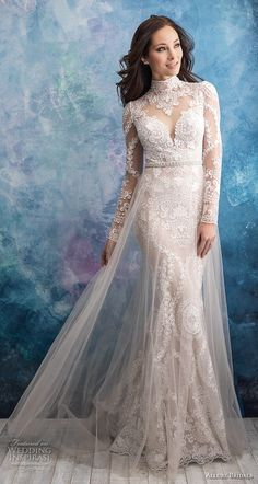 allure bridals fall 2018 bridal long sleeves illusion high neck sweetheart neckline full embellishment elegant fit and flare wedding dress a line overskirt lace back sweep train (4) mv -- Allure Bridals Fall 2018 Wedding Dresses | Wedding Inspirasi #wedding #weddings #bridal #weddingdress #bride ~