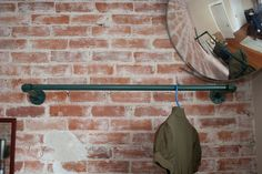 entry coat rack but in raw steel Store Decor, Brooklyn Apartment, Diy Clothes Rack, Clothing Rack, Interior Decorating, Diy Coat Rack, Small Rooms, Industrial Clothes Hangers, Laundry Room