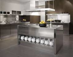 Stainless steel kitchen cabinets - Stainless steel for your kitchen is a sleek and modern look. Steel kitchen cabinets will not warp, mold or ever need Metal Kitchen Cabinets, Kitchen Cabinet Design, Kitchen Interior, Kitchen Decor, Island Kitchen, Kitchen Ideas, Kitchen Units, Kitchen Furniture, Stainless Steel Kitchen Design