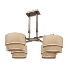 Lámpara cuero 4 luces pantallas color arena