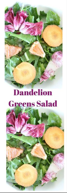 Have you tried dandelion greens? This dandelion salad is mixed with lettuce, carrots, navel orange with a simple balsamic dressing. Click here for this recipe or pin to save for later.