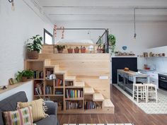 Amazing Tiny house Design with loft bed, kitchen and comfortable You can find Small house and more on our website.Amazing Tiny house Design with loft . Loft Design, Tiny House Design, Garage Design, Design Design, Small Apartments, Small Spaces, Bookcase Stairs, Diy Bookcases, Loft Stairs