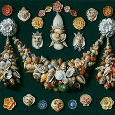 Festoons, Masks and Rosettes #sailorsvalentine #shell #shellart #rosettes #sailorsvalentineart