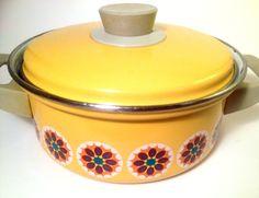 60s swedish Vintage enamel retro pot with lid. Scandi by Inspiria, $32.00