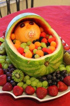 Baby Inspired Fruit Salad : created with baby in mind, and would be a great addition to your next baby shower gathering...