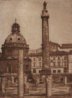 1848/50 Caneva Giacomo (attr.) Foro Traiano - vista della Colonna Traiana e della Chiesa di S. Maria di Loreto.