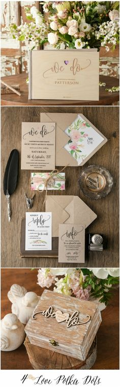 We Do <3 wedding invitations, guest book, ring bearer box - all matching your wedding ! #wedo #wedding #boho #bohemian #weddingideas #floral #flowers #romantic #calligraphz