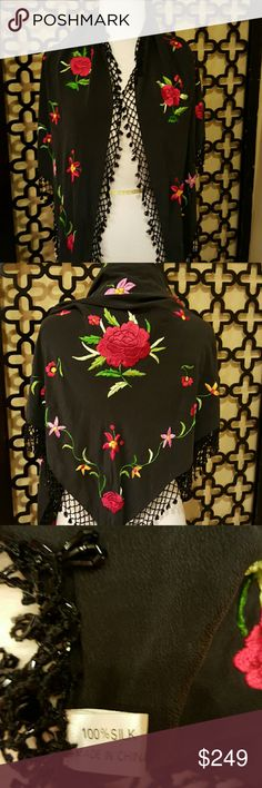STUNNING ALL SILK VINTAGE BEADED SHAWL This is soooo hard for me to let go!! It is heavily beaded with 3 inch solid black fringe all around. The weight is gorgeous! Triangle. 5 feet by 40 inches. Beautifully embroidered with roses, etc. Vintage Accessories Scarves & Wraps