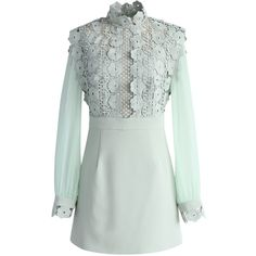 Chicwish Fence of Romance Crochet Dress in Mint ($68) ❤ liked on Polyvore featuring dresses, green, sheer sleeve dress, green color dress, mint green dresses, green crochet dress and macrame dress