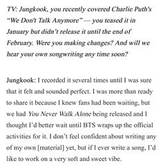 """Jungkook, you recently covered Charlie Puth's """"We Don't Talk Anymore"""" — you teased it in January but didn't release it until the end of February. Were you making changes? And will we hear your own songwriting any time soon? ❤ (Meet BTS, the K-Pop Group Loved By Wale and Charlie Puth Interview! Article link: teenvogue.com/story/bts-k-pop-group-loved-by-wale-charlie-puth) #BTS #방탄소년단"""