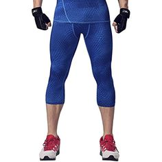 1e3aca4029c6 Men s Compression Capris Pants Baselayer Workout Sports Tights Running  Leggings     Click image for