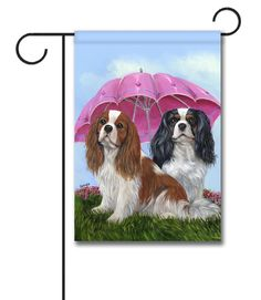 Cavalier King Charles Spaniel Royal Subjects-LF: x Double sided Image. Cross Paintings, Animal Paintings, Watercolor Paintings, Roi Charles, Cavalier King Charles Spaniel, Flag Stand, Summer Dog, Summer Garden, Outdoor Flags