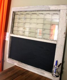 Love the little jar attachment for marker/chalk on this board! Calendar Chalkboard Dry Erase Calendar Old by offthewallpainting, $74.00