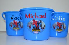 Spiderman Personalized Plastic Bucket Pail with by FrillsByStudioK, $5.95