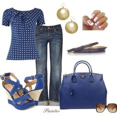 Love the blue and the polka dots :)    ~Blue Polka Dots~, created by mels777 on Polyvore