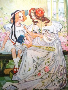 Princesses Dorothy and Ozma of Oz, from the books by L. Frank Baum. By John R. Neill, original illustrator.