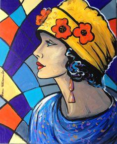 """""""La Dame aux coquelicots"""" Portrait expressionniste style art déco par Dam Domido - Peinture,  50x61 cm ©2014 par Dam Domido -                                                            Art déco, Toile, Personnes, Portrait expressionniste style art déco par Dam Domido HUILE SUR TOILE, peinture art déco, portrait rétro, dam domido"""