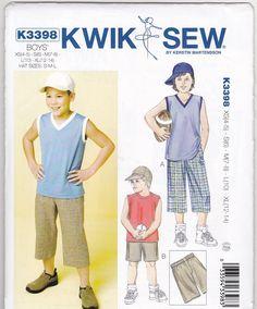 Boys Shorts Shirts & Hat Sewing Patterns Kwik Sew 3398 Size 4-5-6-7-8-10-12-14