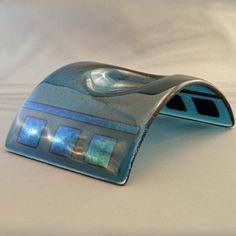 Sheer Blue - Fused Glass Candle Bridge / Holder