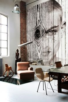 Fantastic...antique rocking horse & old building with modern design| collage over wood planks, artwork antonio mora