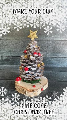 Pine Cone Christmas Tree, Christmas Crafts With Pinecones, Christmas Crafts For Children, Diy Christmas Crafts, Pine Cone Christmas Decorations, Christmas Tree And Fireplace, Diy Christmas Tree Topper, Diy Tree Topper, Pine Cone Tree