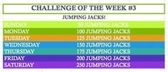 Get your heart pumping a little bit EVERY DAY with this JKR Challenge of the Week :)  I'll be doing these every morning just to get the blood flowing and add a little bit of extra activity to my day. This challenge is to be done IN ADDITION TO YOUR CURRENT WORKOUTS!  This challenge is for beginners but can be adapted to any activity level!  If this seems too easy for you, simply multiply each day by 2, 3, 4 or more.  By the end of the week you should have quadrupled the amount of jumping…