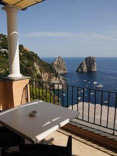 View from the balcony of the Hotel Luna, Capri over the Faraglioni