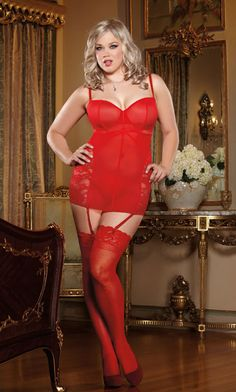 Women's Plus Size Lingerie - Stretch Mesh & Lace Underwire Garter Slip